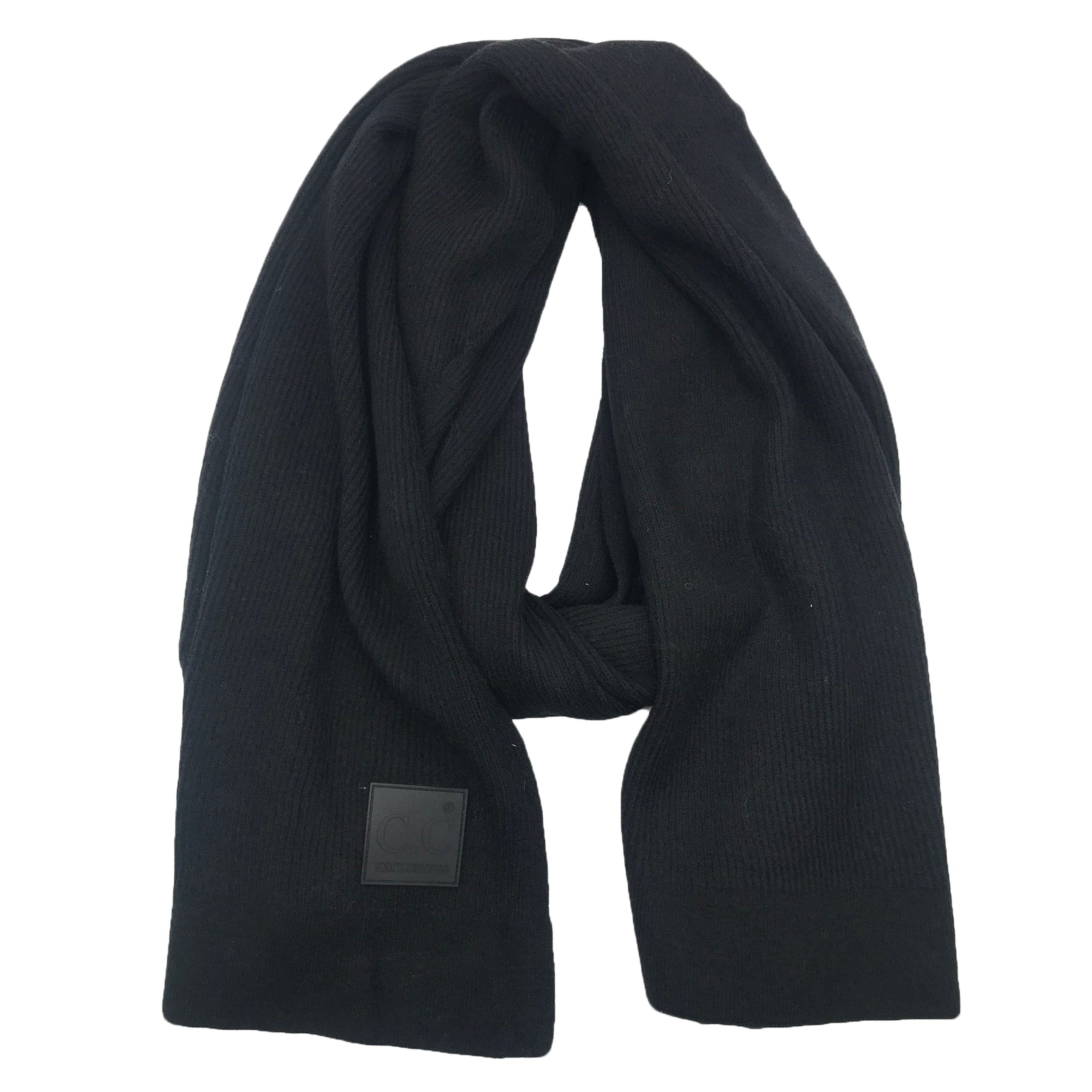 Scarf-7007 Rubber Patch Scarf Black