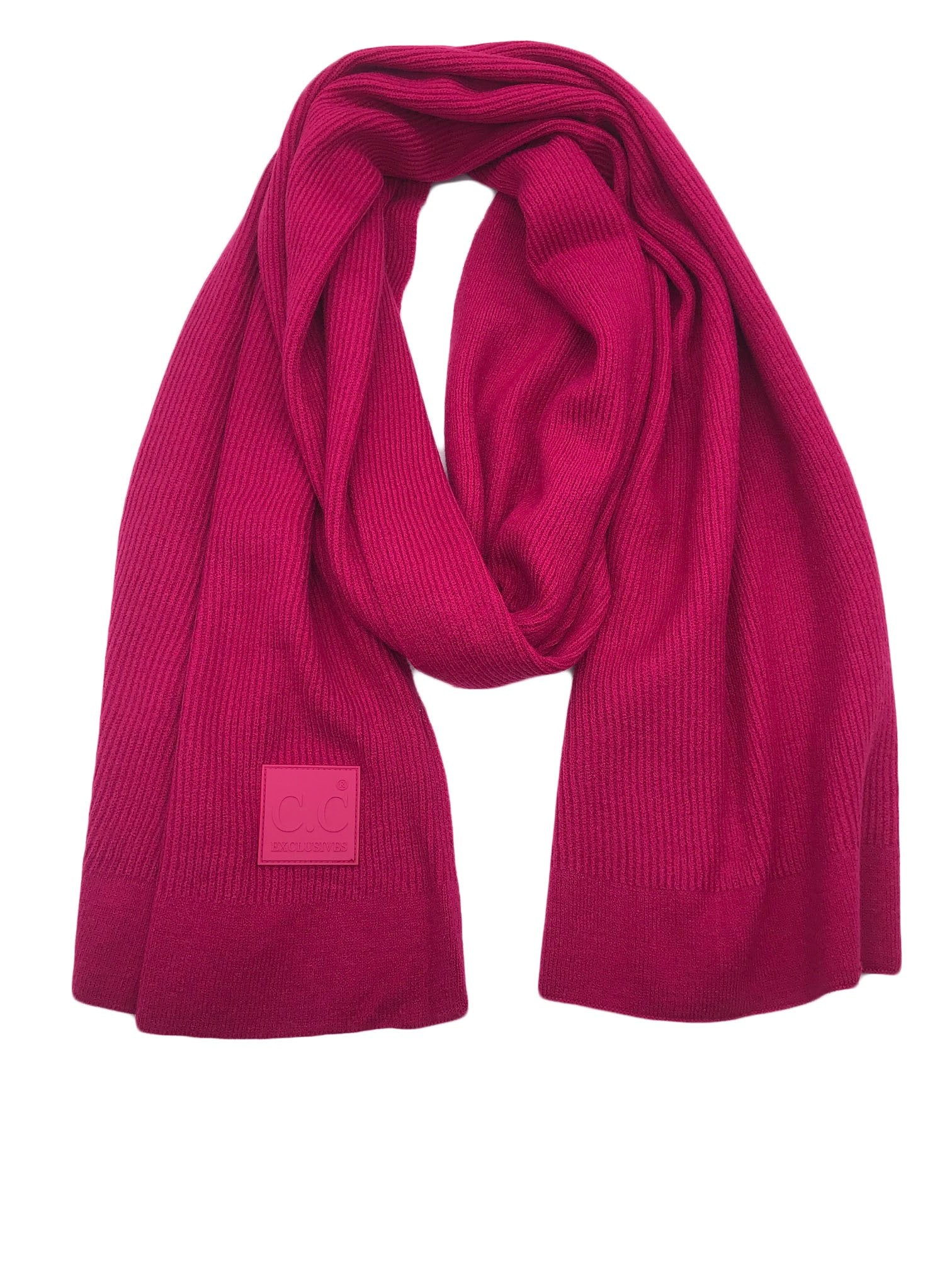 Scarf-7007 Rubber Patch Scarf Hot Pink