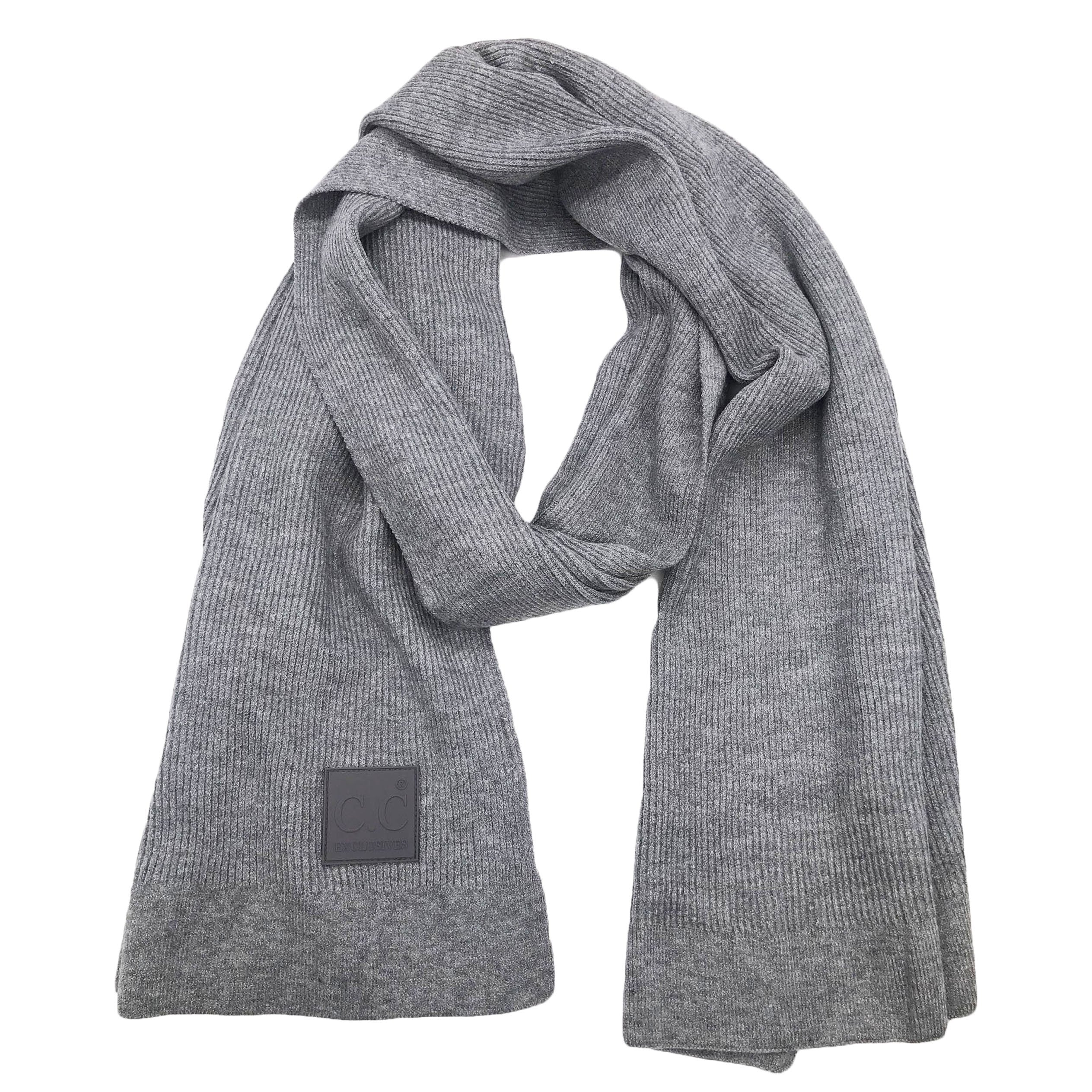 Scarf-7007 Rubber Patch Scarf Light Melange Grey