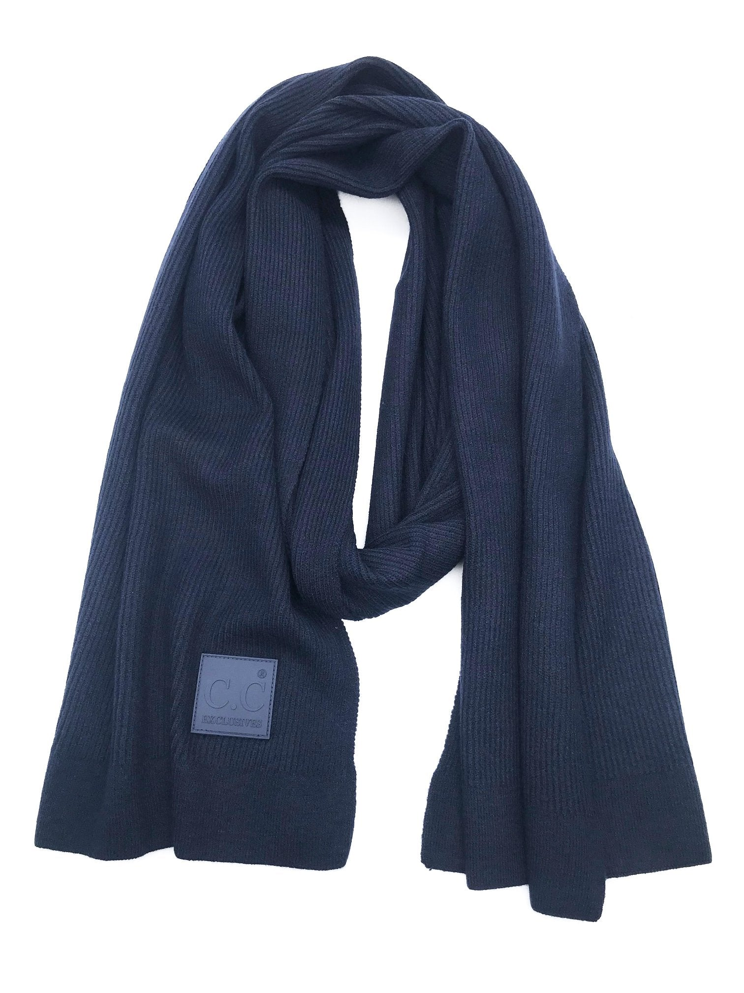 Scarf-7007 Rubber Patch Scarf Navy