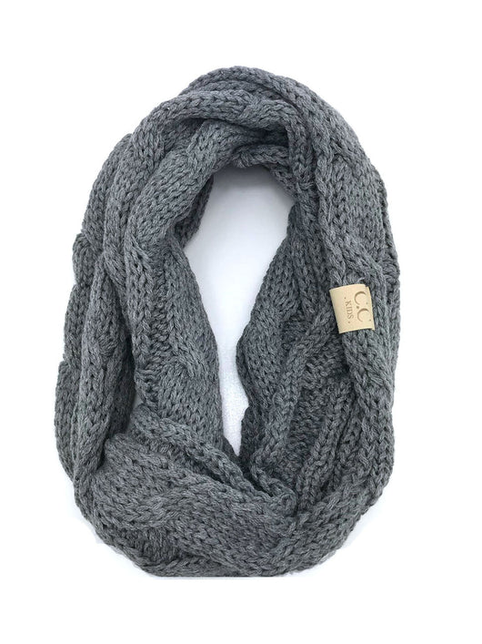 SF800KIDS-LIGHT MELANGE GREY INFINITY SCARF
