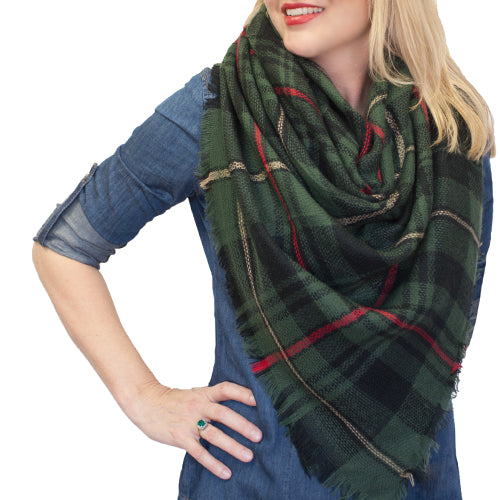 BLANKET SCARF 7 OLIVE AND NAVY