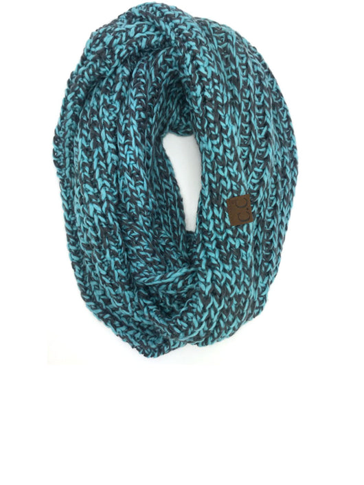 INF-123 BLUE GREY CROCHET SCARF
