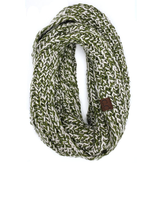 INF-123 OLIVE NATURAL CROCHET SCARF
