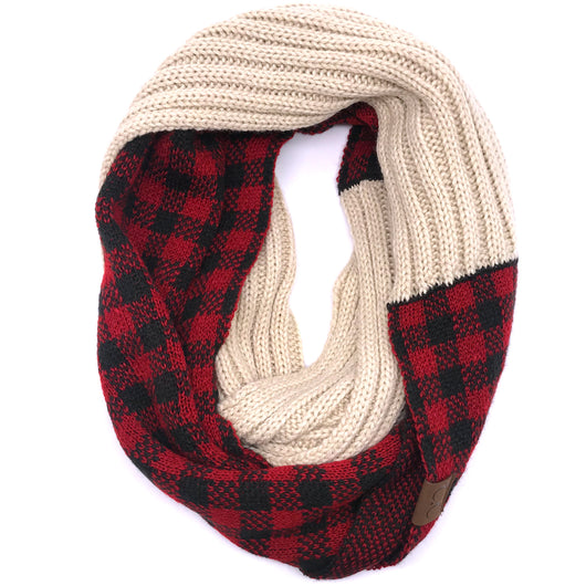 SF-17 BUFFALO PLAID SCARF BEIGE RED/BLACK