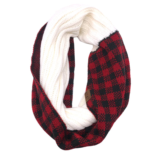 SF-17 BUFFALO PLAID SCARF IVORY RED/BLACK