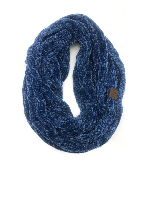 SF-30 DARK DENIM VELOUR SCARF