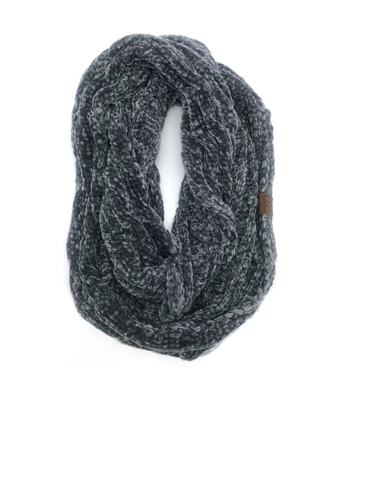 SF-30 LIGHT MELANGE GREY VELOUR SCARF