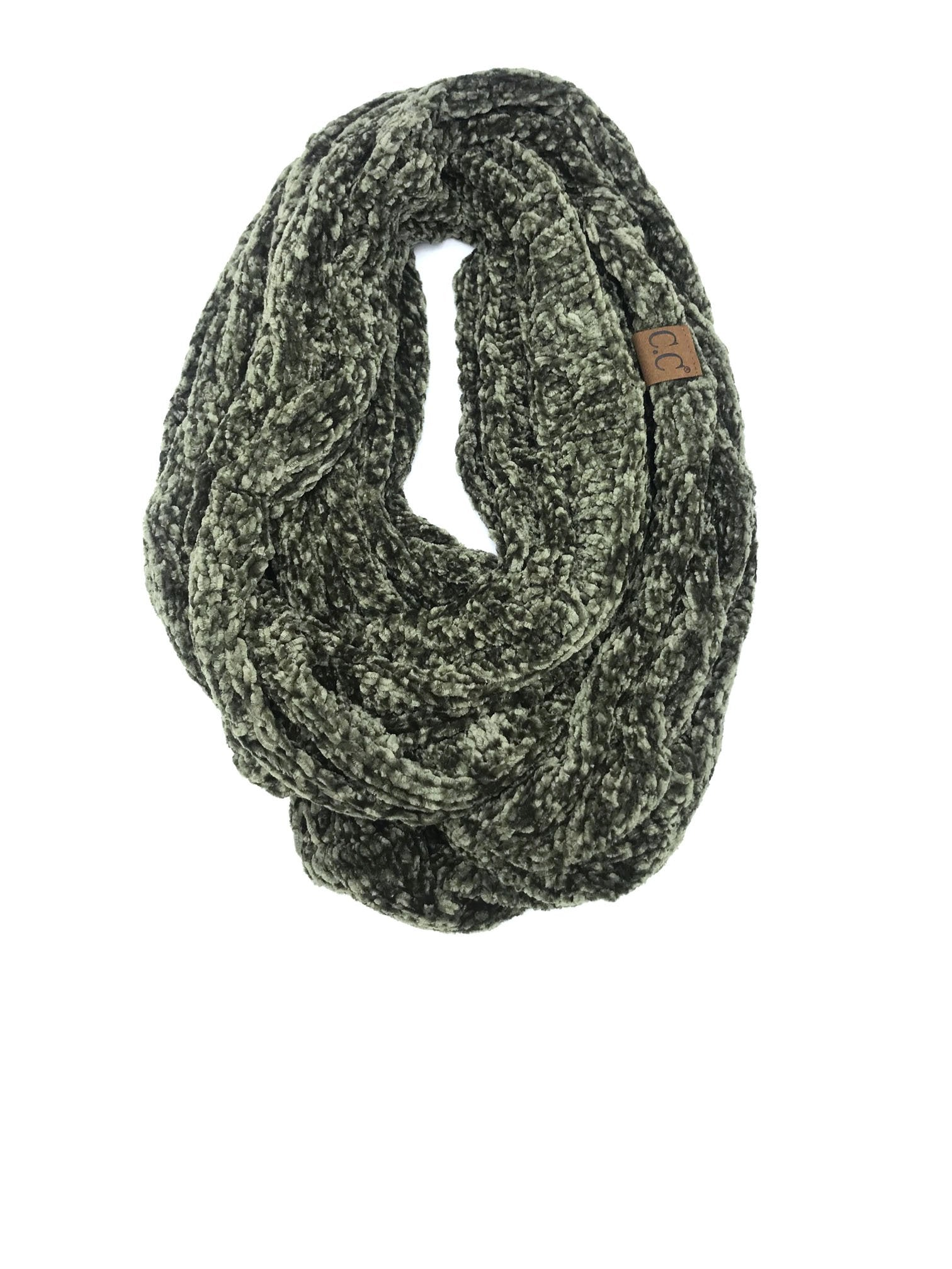 SF-30 NEW OLIVE VELOUR SCARF