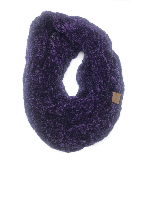 SF-30 DARK PURPLE VELOUR SCARF