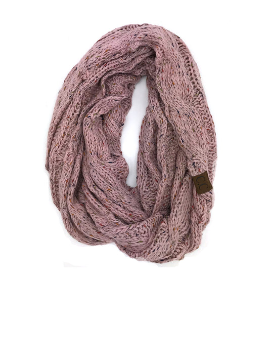 SF33-Indi Pink Speckled Infinity Scarf
