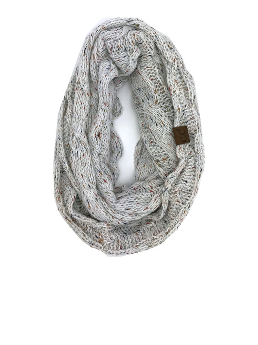 SF33-Ivory Speckled Infinity Scarf