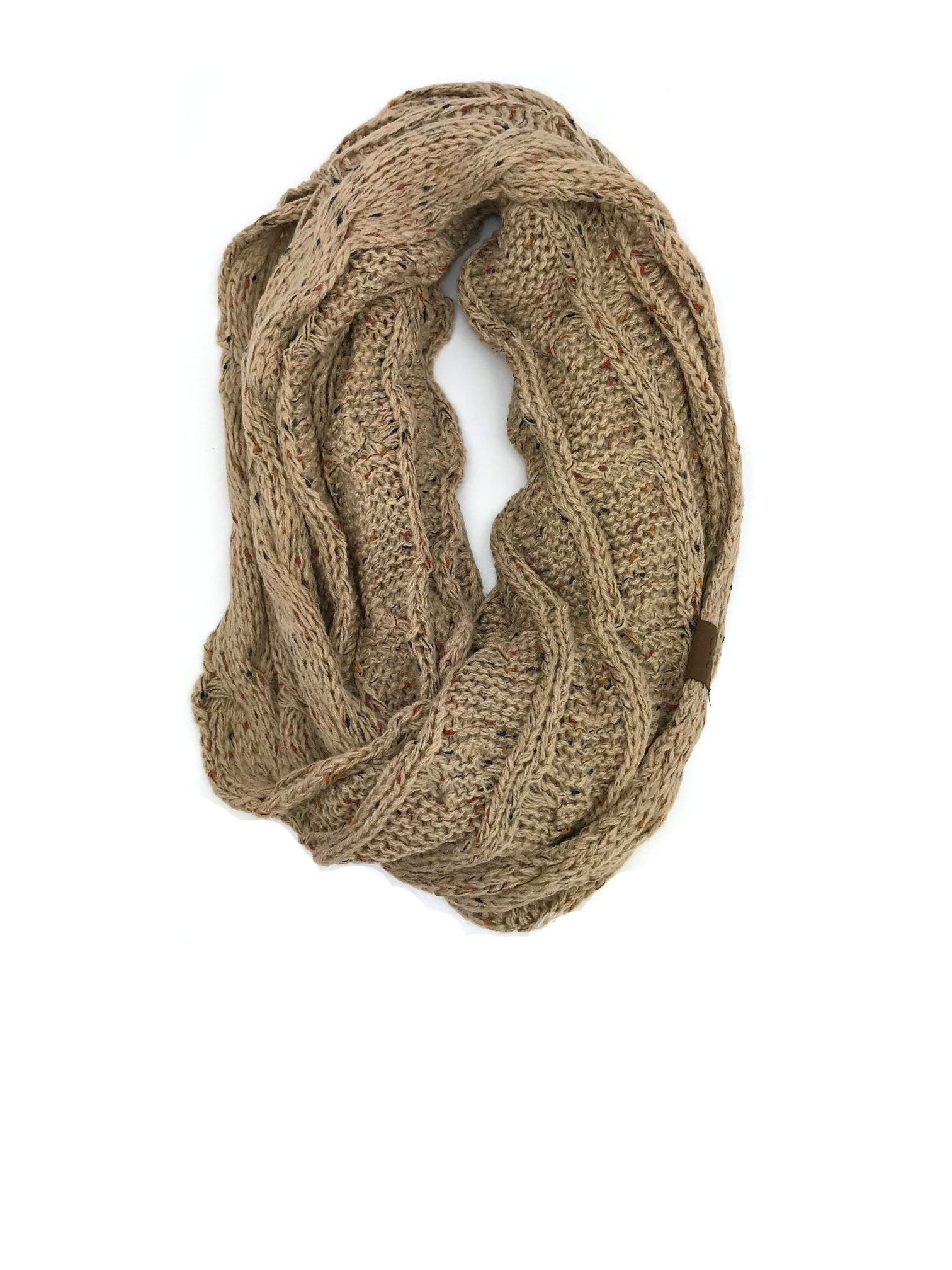 SF33-Latte Speckled Infinity Scarf