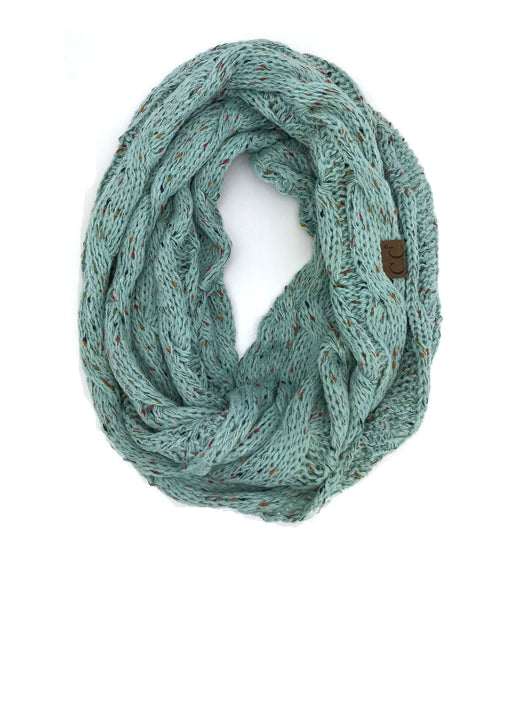 SF33-Mint Speckled Infinity Scarf