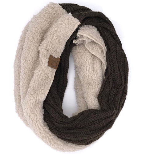 SF-88 Sherpa Infinity Scarf Brown Taupe