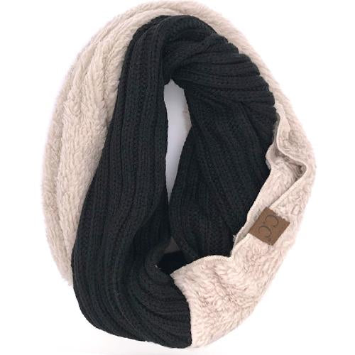 SF-88 Sherpa Infinity Scarf Black Taupe