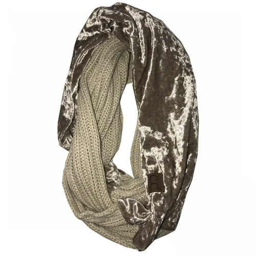 SF-89 BEIGE CRUSHED VELVET SCARF