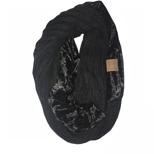 SF-89 BLACK CRUSHED VELVET SCARF
