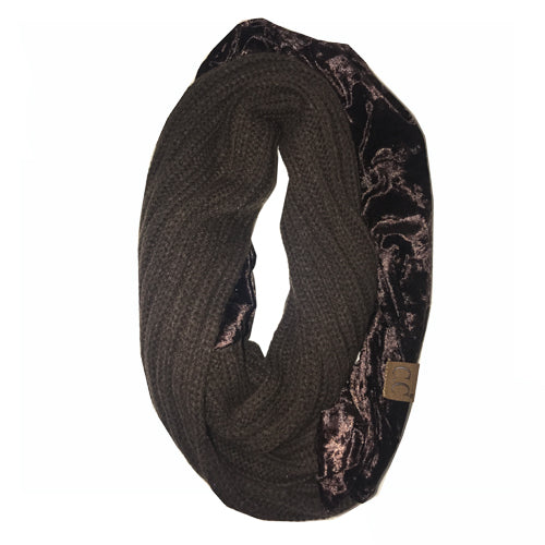 SF-89 BROWN CRUSHED VELVET SCARF