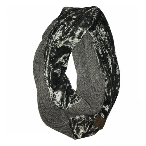 SF-89 LT MELANGE GREY CRUSHED VELVET SCARF