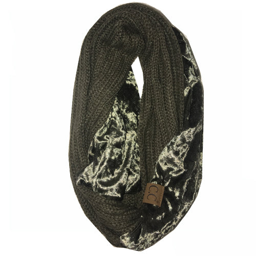 SF-89 NEW OLIVE CRUSHED VELVET SCARF
