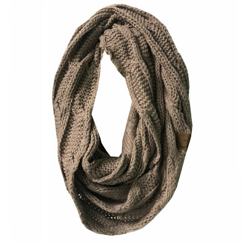 SF800-Taupe Infinity Scarf