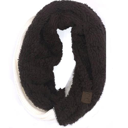 SF-88 Sherpa Infinity Scarf Ivory Brown