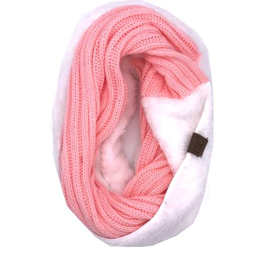 SF-88 Sherpa Infinity Scarf Light Pink White
