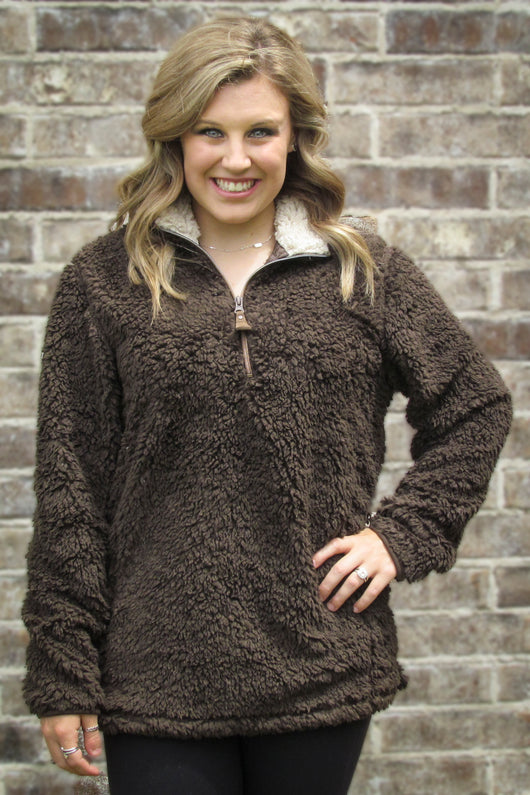 C.C SHERPA PULLOVER BROWN