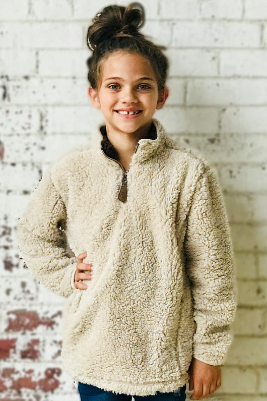 C.C KIDS SHERPA PULLOVER TAUPE