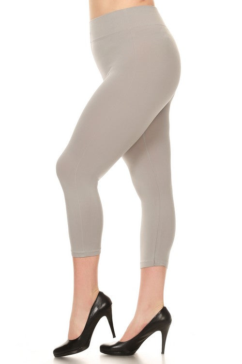 518SD-Metal Grey Capri Legging