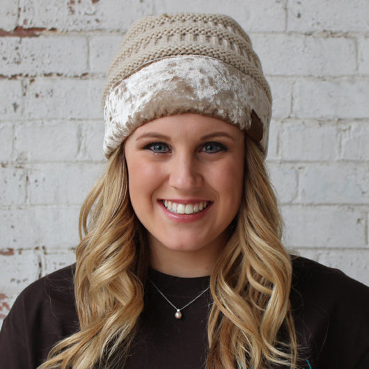 Hat-89 Beige with Crushed Velvet Trim