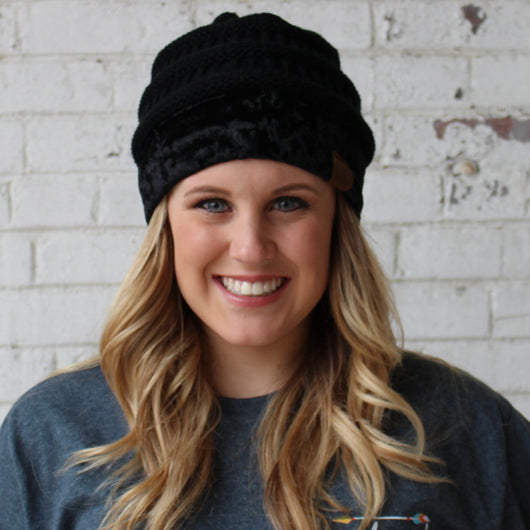 Hat-89 Black with Crushed Velvet Trim