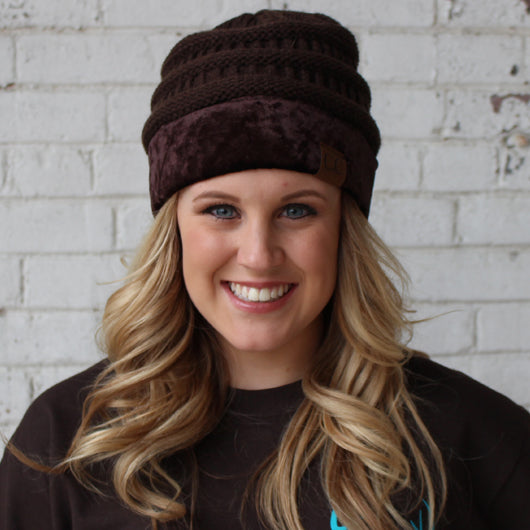 Hat-89 Brown with Crushed Velvet Trim