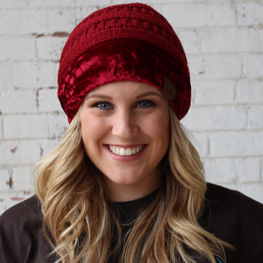Hat-89 Burgundy with Crushed Velvet Trim
