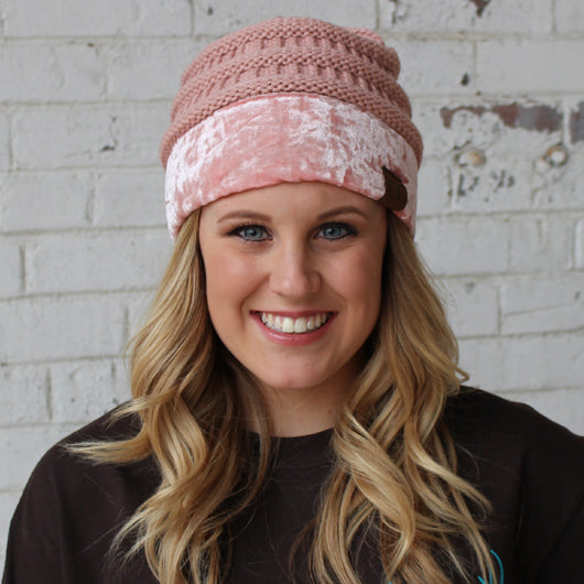 Hat-89 Indy Pink with Crushed Velvet Trim