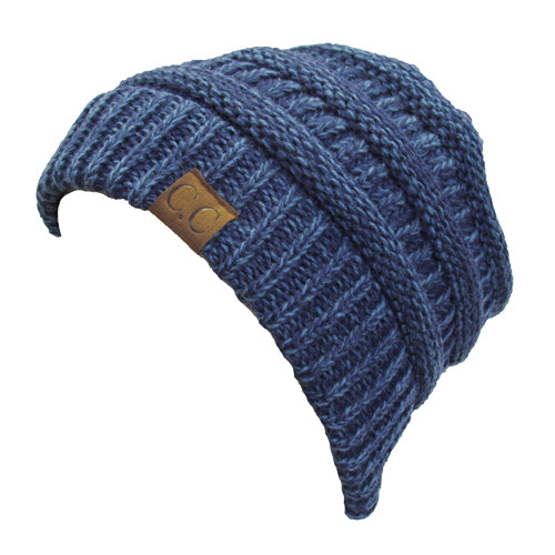 YJ-800 2-TONE BEANIE 19 - BLUE AND DENIM