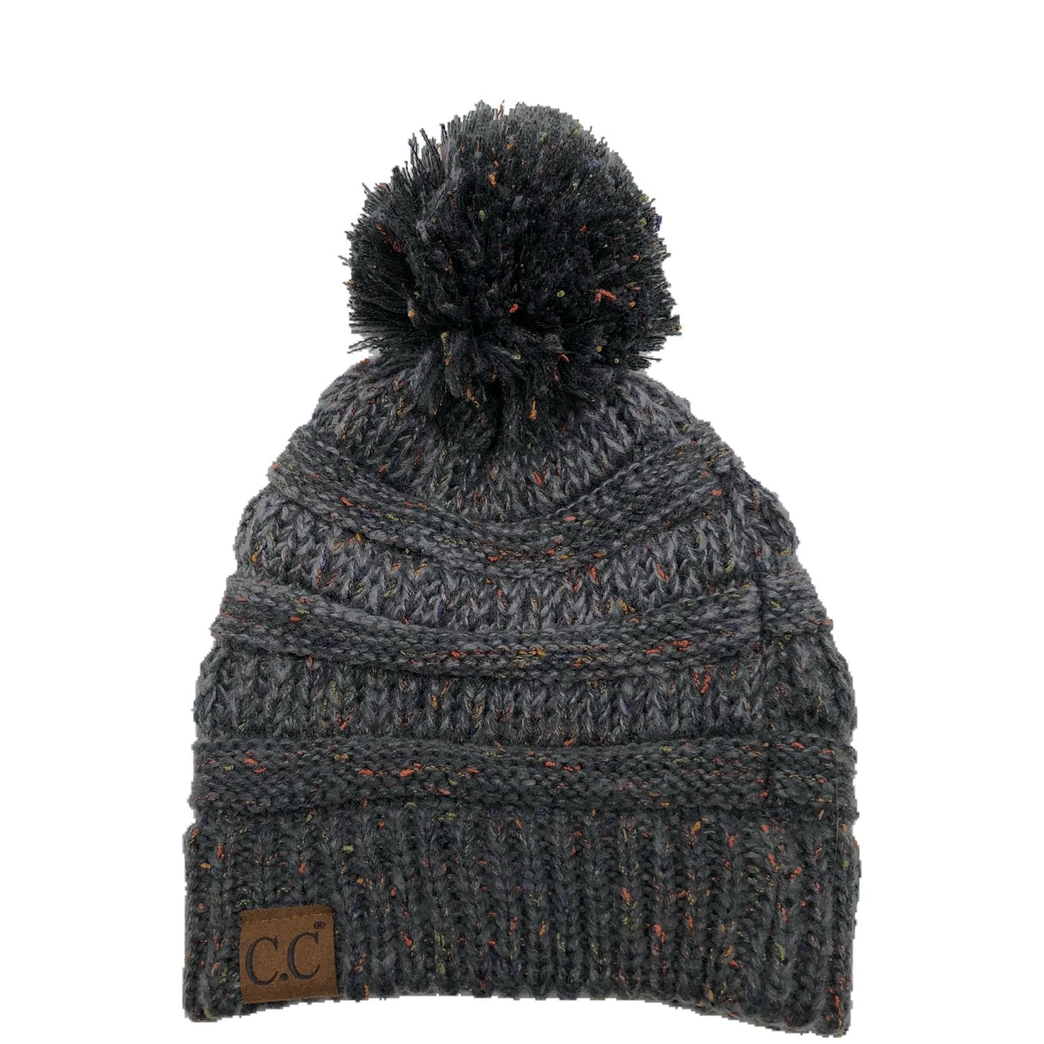 YJ-817 Speckled Pom Beanie - Dark Mel Grey
