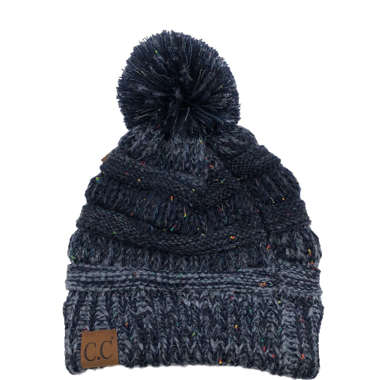 YJ-817 Speckled Pom Beanie - Navy