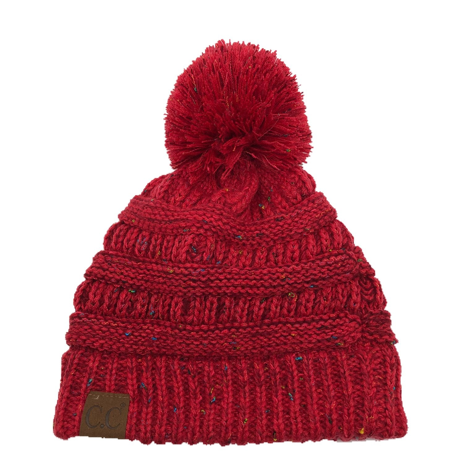 YJ-817 Ombre Speckled Pom Beanie - Red