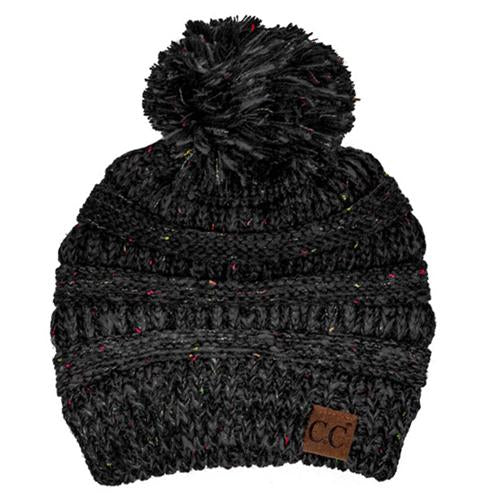 YJ-817 Speckled Pom Beanie - Black