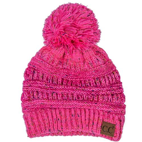 YJ-817 Speckled Pom Beanie - New Candy Pink