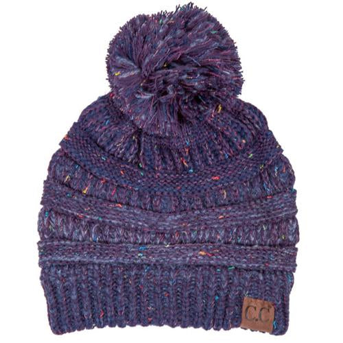 YJ-817 Ombre Speckled Pom Beanie - Purple
