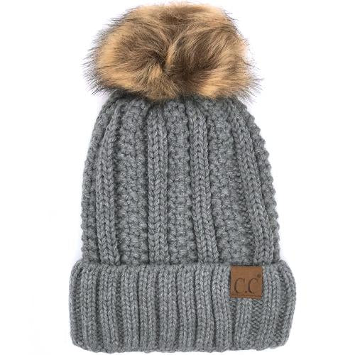 YJ-820 BEANIE W/FAUX FUR POM - LIGHT MEL GREY
