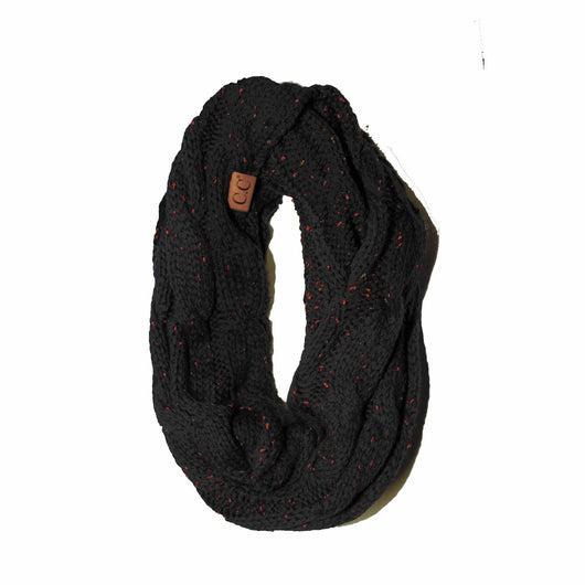 SF-33 Black Speckled Infinity Scarf