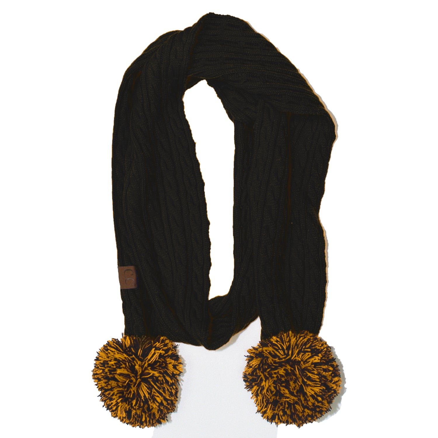SK-56 Black and Gold Team Pom-Pom Scarf