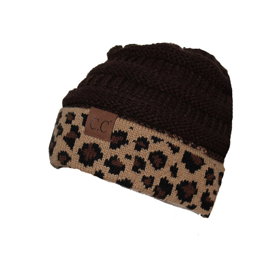Hat-45 Brown Leopard Beanie