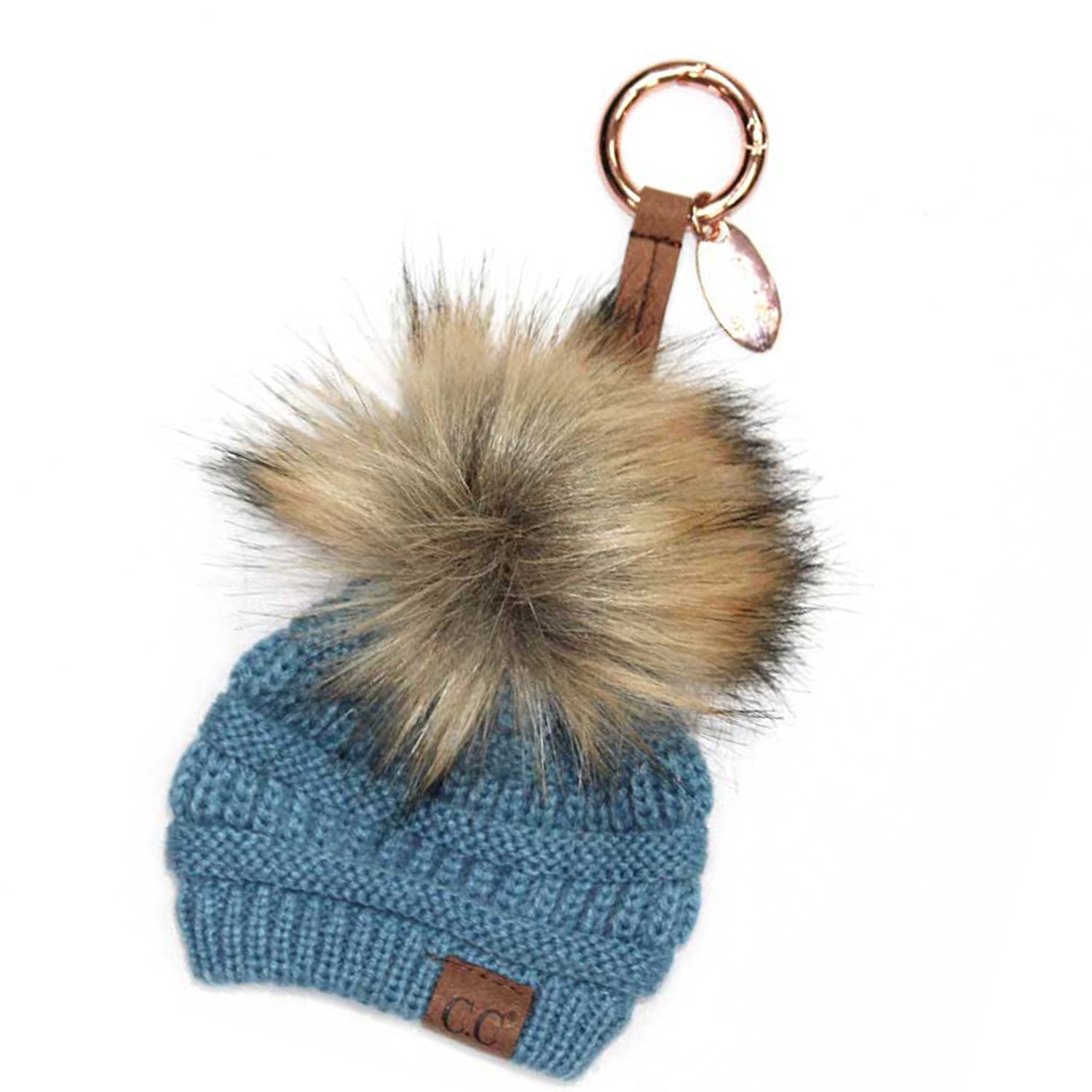 KB-43 Keychain W/FAUX FUR POM -Denim