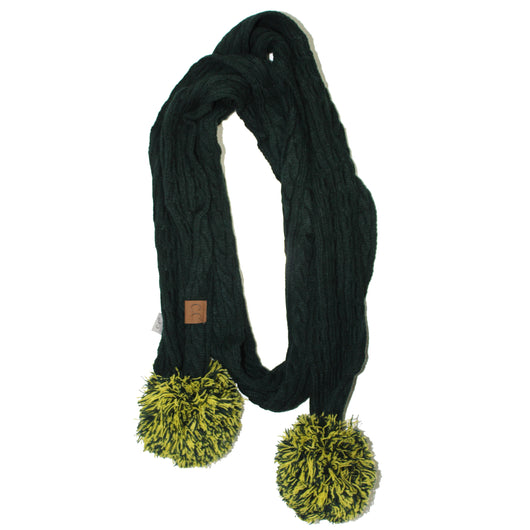SK-56 Green and Gold Team Pom-Pom Scarf