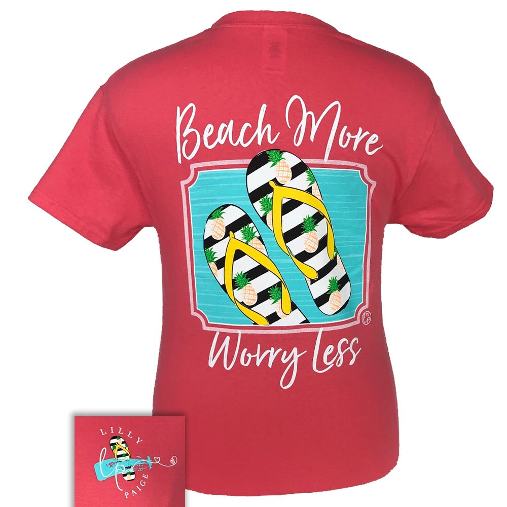 LP-Beach More Worry Less Coral Short Sleeve T-Shirt